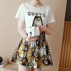 Queen Bee - Set: Print Short Sleeve T-Shirt + Floral Print A-line Skirt