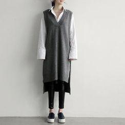 NANING9 - Sleeveless Wool Blend Knit Dress