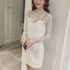 Lyrae - Set: Sheer Long-Sleeve Top + Chain Strap Mini Dress