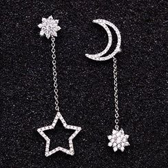 maxine - Rhinestone Moon & Star Asymmetrical Drop Earrings