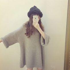 Cotton Candy - 七分袖針織A字連衣裙