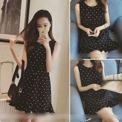 QZ Lady - Sleeveless Dotted Frilled Dress