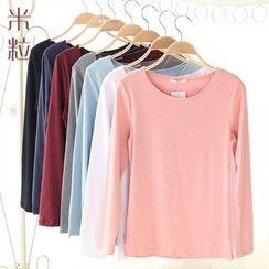 Grainie - Plain Long-Sleeve T-Shirt