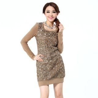 O.SA - Sequined Appliqué Knit Dress