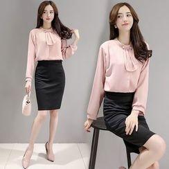 Rosehedge - Set: Faux Pearl Long Sleeve Blouse + Plain Pencil Skirt