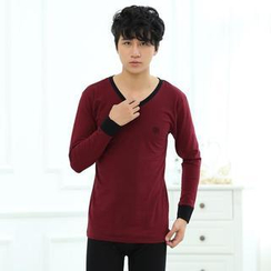 HYG Lingerie - Pajamas Set: Piped-V-Neck Long-Sleeve Top + Pants