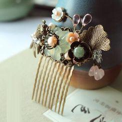 Green Finch - Fish & Lotus Jade Hair Stick/Comb