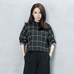 BORAN - Window Pane Cropped Long Sleeve Top
