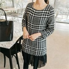 JOAMOM - Lace-Trim Check Dress