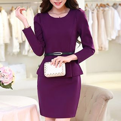 SEYLOS - Long-Sleeve Peplum Dress with Belt