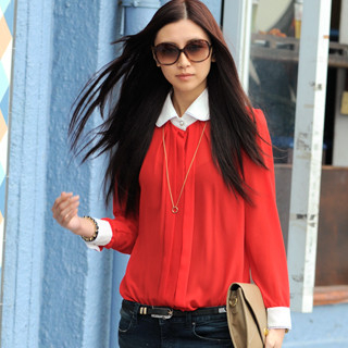 59 Seconds - Contrast Trim Chiffon Shirt