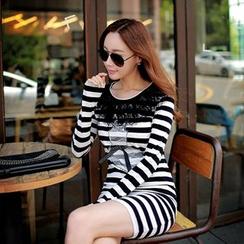 Dabuwawa - Long-Sleeve Paneled Striped Dress