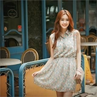 Styleberry - Sleeveless Floral Print A-Line Dress