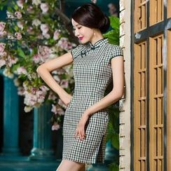 Miss Four Qipao - Cap-Sleeve Gingham Cheongsam