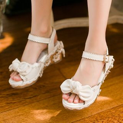 Candy Rain - Kids Bow Wedge Sandals