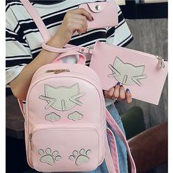 Merlain - Set: Cat Applique Backpack + Crossbody Bag + Card Holder