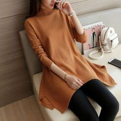 Bubbleknot - Mock Neck Long Sweater