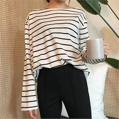 QNIGIRLS - Striped Boatneck Top