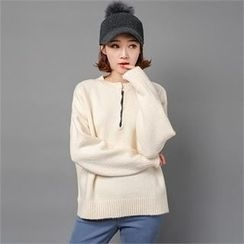 Styleberry - Buttoned-Front Contrast-Trim Sweater