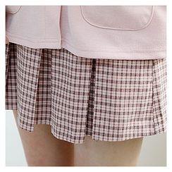 Sechuna - Plaid Mini Pleated Skirt