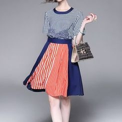 Alaroo - Set: Striped Short Sleeve T-Shirt + Striped Panel A-Line Skirt