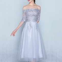 Shannair - Elbow-Sleeve Evening Gown