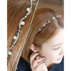 Miss21 Korea - Faux-Pearl Rhinestone Elastic Hair Band
