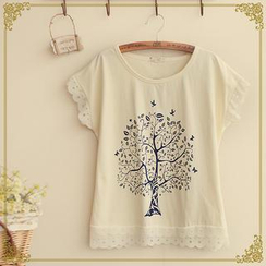Fairyland - Lace-Trim Tree Print T-Shirt