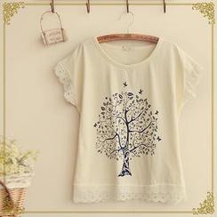 Fairyland - Short-Sleeve Tree Print T-Shirt