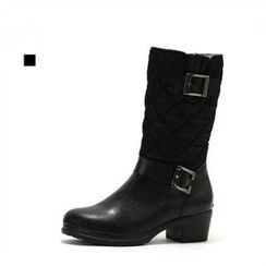MODELSIS - Genuine Leather Zip-Side Buckled Boots