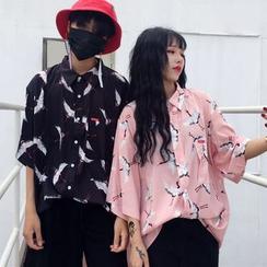 LINSI - Couple Matching Print Elbow-Sleeve Shirt