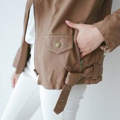 JUSTONE - Belted Faux-Leather Biker Jacket