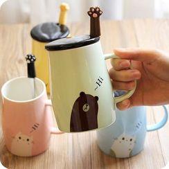 CHITO - 情侶款字母陶瓷杯 + 勺子