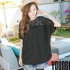 YoungBaby - Short-Sleeve Lace-Panel Top