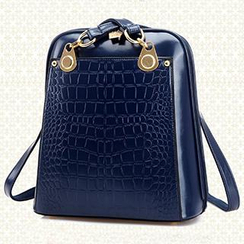 BeiBaoBao - Croc-Grain Faux-Leather Backpack