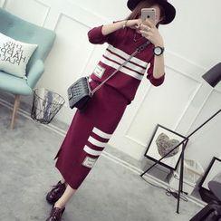 Maple Fair - 套装:针织上衣 + 半身裙