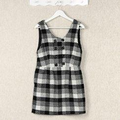 59 Seconds - Sleeveless Buttoned Check Knit Dress