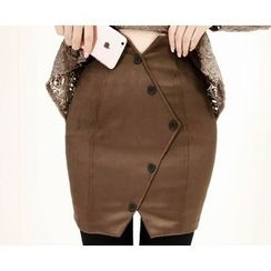Marlangrouge - Button-Front Mini Pencil Skirt