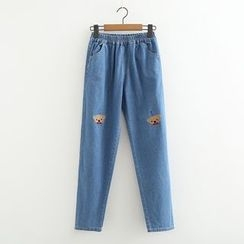 MAOMAO - Bear Embroidered Jeans