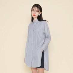 Envy Look - Slit-Side Striped Long Shirt