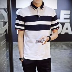 JORZ - Striped Short-Sleeve Polo Shirt