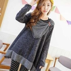 YoungBaby - Loose-Fit Striped-Bow Panel Top