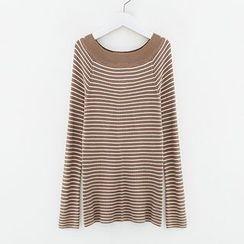Meimei - Off-shoulder Stripe Knit Top