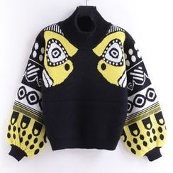 Tulander - Lantern Sleeve Printed High Neck Sweater