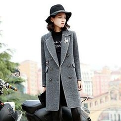 Romantica - Embroidered Stitch-Trim Wool Coat