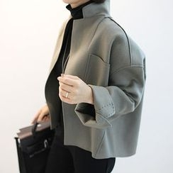 STYLEBYYAM - Wool Blend Stitched Open-Front Jacket