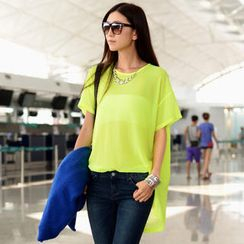 SO Central - Short-Sleeve Chiffon Oversized Top