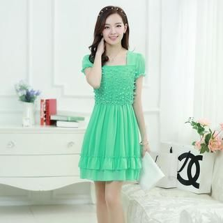 Aierys - Puff-Sleeve Appliqué Ruffled Chiffon Dress