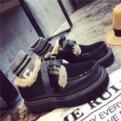 QQ Trend - 毛毛邊繫帶厚底船鞋