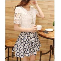 Sienne - Set : Short-Sleeve Chiffon Top + Floral Print Skirt